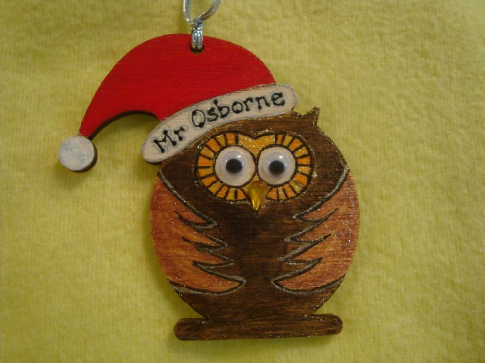 Personalised Wooden Owl In Santa Hat Shaped Christmas Tree